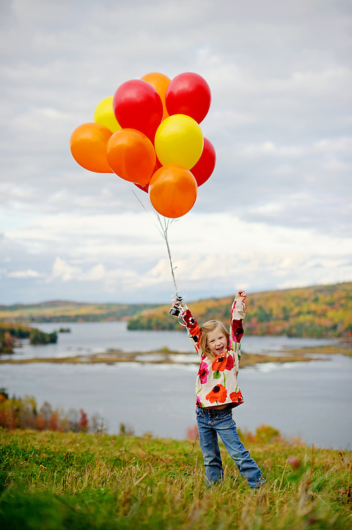Fall portrait session with balloons in Maine.  Image by Maine Wedding Photographer, Puerto Vallarta Wedding Photographer, New York City Wedding Photographer and Philadelphia Wedding Photographer Michelle Turner.