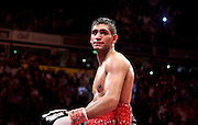 Amir Khan celebrates after the WBA and WBO Inter-Continental Lightweight title fight between Amir Khan and Marc Antonio Barrera at the MEN Arena on March 14, 2009 in Manchester, England.