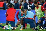Daniel Alves da Silva (PSG) had a look to Thiago Silva (PSG), Neymar da Silva Santos Junior - Neymar Jr (PSG), Thiago Motta Santon Olivares (psg) during the French championship L1 football match between Paris Saint-Germain (PSG) and Toulouse Football Club, on August 20, 2017, at Parc des Princes, in Paris, France - Photo Stephane Allaman / ProSportsImages / DPPI