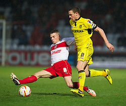 STEVENAGE, ENGLAND - Saturday, November 24, 2012: Tranmere Rovers' captain James Wallace in action against Stevenage's James Dunne during the Football League One match at Broadhall Way. (Pic by David Rawcliffe/Propaganda)