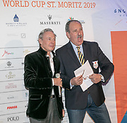 2019, Januari 24. Kulm Hotel, St Moritz. Spelerspresentatie van de Snowpolo World Cup. Op de foto: Dr Piero Dillier en Reto Gaudenzi