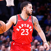 01 November 2017: Toronto Raptors guard Fred VanVleet (23) brings the ball up court during the Denver Nuggets 129-111 victory over the Toronto Raptors, at the Pepsi Center, Denver, Colorado, USA.