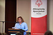 Warsaw, Poland - 2017 March 12: Joanna Styczen National Director of Special Olympics Poland speaks while Nomination Ceremony of Special Olympics Polish National Team before the Special Olympics World Winter Games Austria  2017 at Marriott Hotel on March 12, 2017 in Warsaw, Poland.<br /> <br /> Mandatory credit:<br /> Photo by &copy; Adam Nurkiewicz / Mediasport<br /> <br /> Adam Nurkiewicz declares that he has no rights to the image of people at the photographs of his authorship.<br /> <br /> Picture also available in RAW (NEF) or TIFF format on special request.<br /> <br /> Any editorial, commercial or promotional use requires written permission from the author of image.<br /> <br /> Image can be used in the press when the method of use and the signature does not hurt people on the picture.