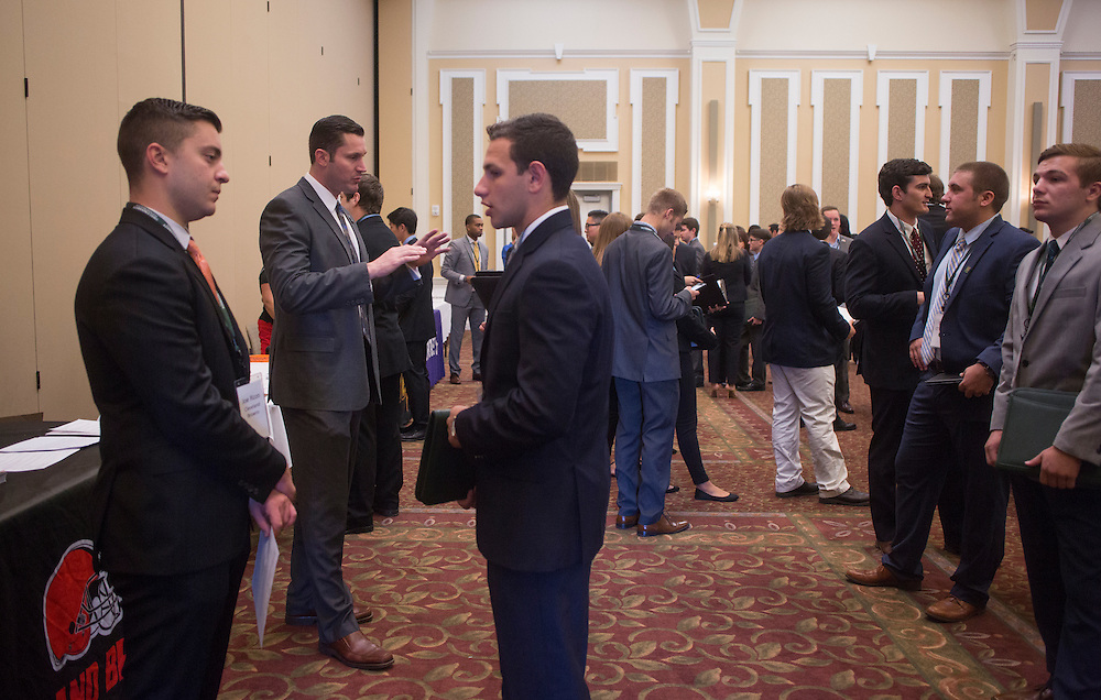 Students in the College of Business talk to possible employers within the sports industry during the Career Fair in Baker Ballroom on October 13, 2016.