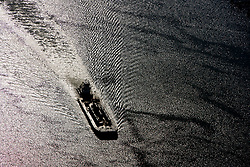 Aerial view of a tanker travelling through the Port of Houston