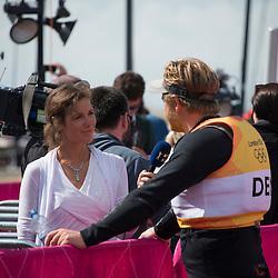 2012 Olympic Games London / Weymouth<br /> Finn Medal Race<br /> Hoegh-Christensen Jonas, (DEN, Finn) giving interview after the medal race