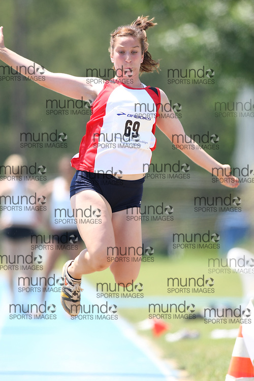 "(Ottawa, Ontario---20080621) ""Corrente, Julia of Kent Legion Track Club"" competing in the  at Supermeet I, the 2008 Ontario Track and Field Association (OTFA) Junior/Senior Track and Field Championships. This image is copyright Sean W. Burges, and the photographer can be contacted at seanburges@yahoo.com."