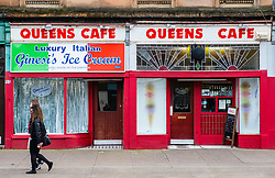 Queens cafe on Victoria Road in Govanhill district of Glasgow, Scotland, United Kingdom.