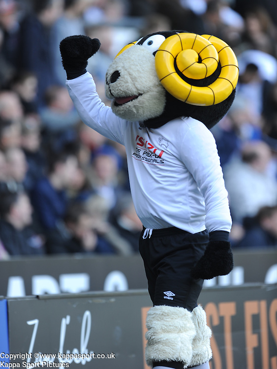 Derby Mascot Ramy, Derby County v Brentford, Sy Bet Championship, IPro Stadium, Saturday 11th April 2015. Score 1-1,  (Bent 92) (Pritchard 28)<br /> Att 30,050