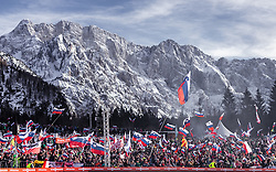 22.03.2019, Planica, Ratece, SLO, FIS Weltcup Ski Sprung, Skiflug, Einzelbewerb, Wertungssprung, Finale, im Bild Fans im Stadion // Spectators in the Stadium infront of the Mountains during his competition jump of the Ski Flying Hill individual competition of the FIS Ski Jumping World Cup Final 2019. Planica in Ratece, Slovenia on 2019/03/22. EXPA Pictures © 2019, PhotoCredit: EXPA/ JFK