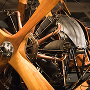 A replica of a World War I-era F.E.8 from the Royal Aircraft Factory, a rotary-engine-powered airplane. The Smithsonian's National Air and Space Museum on the National Mall in Washington DC is one of the most-visited museums in the world and is devoted to the history of aviation and space exploration.