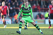 Forest Green Rovers Charlie Cooper(15) during the EFL Sky Bet League 2 match between Morecambe and Forest Green Rovers at the Globe Arena, Morecambe, England on 17 February 2018. Picture by Shane Healey.
