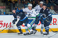 PENTICTON, CANADA - SEPTEMBER 8: Guillaume Brisebois #56 of Vancouver Canucks skates against the Winnipeg Jets on September 8, 2017 at the South Okanagan Event Centre in Penticton, British Columbia, Canada.  (Photo by Marissa Baecker/Shoot the Breeze)  *** Local Caption ***