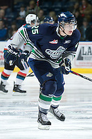 KELOWNA, CANADA, JANUARY 27: Seth Swenson #25 of the Seattle Thunderbirds skates on the ice as the Seattle Thunderbirds visit the Kelowna Rockets on January 27, 2012 at Prospera Place in Kelowna, British Columbia, Canada (Photo by Marissa Baecker) *** Local Caption ***