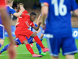 HELSINKI, FINLAND - Friday, July 31, 2015: Liverpool's Divock Origi scores the first goal against HJK Helsinki during a friendly match at the Olympic Stadium. (Pic by David Rawcliffe/Propaganda)