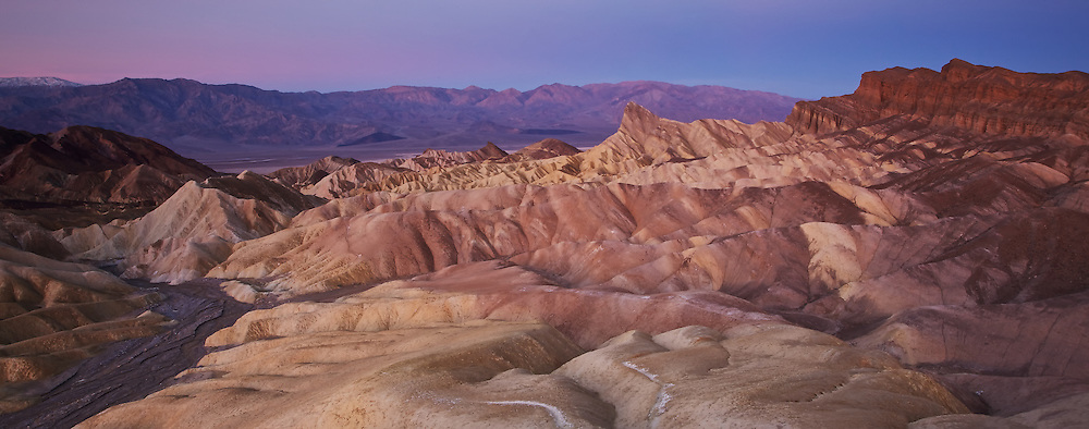 sunrise at death valley national park, zabriskie point