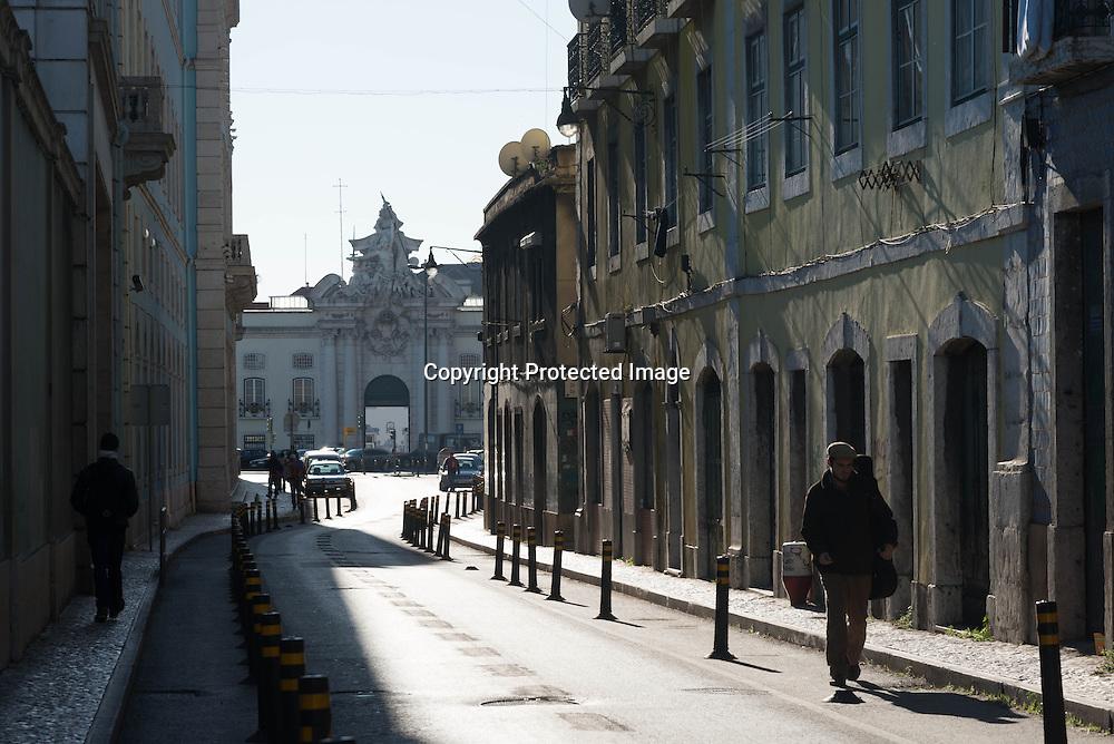 Portugal. Lisbon. Alfama district in the distance the army museum / le quartier de l'Alfama . Lisbonne