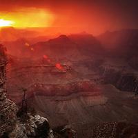 Monsoon season sunset and storm over the Grand Canyon, Arizona.