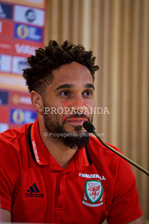 DUBLIN, REPUBLIC OF IRELAND - Thursday, March 23, 2017: Wales' captain Ashley Williams during a press conference at the Aviva Stadium ahead of the 2018 FIFA World Cup Qualifying Group D match against Republic of Ireland. (Pic by David Rawcliffe/Propaganda)