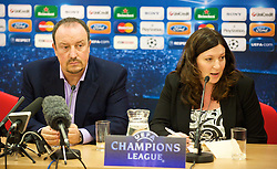LIVERPOOL, ENGLAND - Tuesday, December 8, 2009: Liverpool's manager Rafael Benitez and a female Italian interpreter during a press conference at Anfield ahead of the UEFA Champions League Group E match against AFC Fiorentina. (Pic by David Rawcliffe/Propaganda)