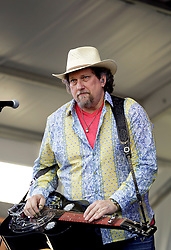 30 April 2015. New Orleans, Louisiana.<br /> The New Orleans Jazz and Heritage Festival. <br /> Jerry Douglas plays with Alison Krauss on the Gentilly Stage.<br /> Photo; Charlie Varley/varleypix.com