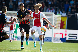 (L-R) Ryan Koolwijk of Excelsior, Kasper Dolberg of Ajax during the Dutch Eredivisie match between sbv Excelsior Rotterdam and Ajax Amsterdam at Van Donge & De Roo stadium on May 06, 2018 in Rotterdam, The Netherlands