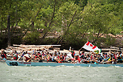 National Aboriginal Day canoe races at the Stawamus Waterfront.  Squamish BC, Canada.