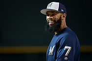PHOENIX, AZ - JUNE 09:  Eric Thames #7 of the Milwaukee Brewers smiles during batting practice prior to the MLB game against the Arizona Diamondbacks at Chase Field on June 9, 2017 in Phoenix, Arizona.  (Photo by Jennifer Stewart/Getty Images)