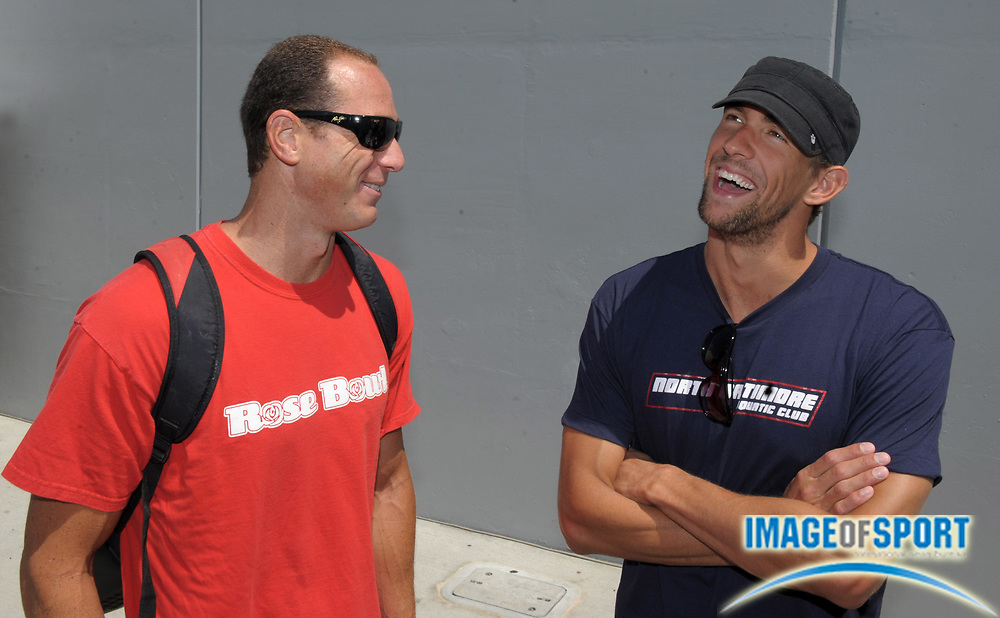 Aug 2, 2010; Irvine, CA, USA; Jason Lezak (left) and Michael Phelps at the 2010 USA Swimming National Championships media day at William Woollett Jr. Aquatics Center. Photo by Image of Sport