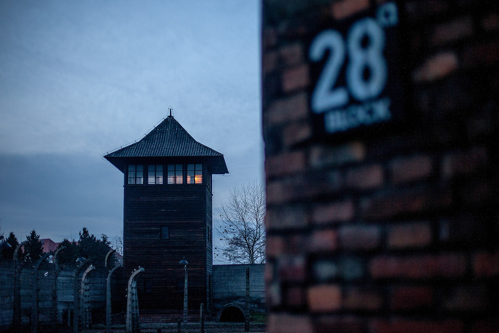 A guard tower close to block Nr. 28 at the Auschwitz Nazi concentration camp. It is estimated that between 1.1 and 1.5 million Jews, Poles, Roma and others were killed in Auschwitz during the Holocaust in between 1940-1945.