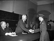 Army Officers receive Certificates for Motor Engineering at Bolton St. School, Dublin.<br /> <br /> 05/07/1955<br /> <br /> 5th July 1955