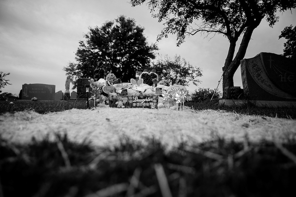 CHICAGO, IL - AUGUST 15, 2016: General views of the gravesite of Veronica Lopez, 15, who was shot and killed over Memorial Day weekend while riding in a car with friends. CREDIT: Sam Hodgson for The New York Times.