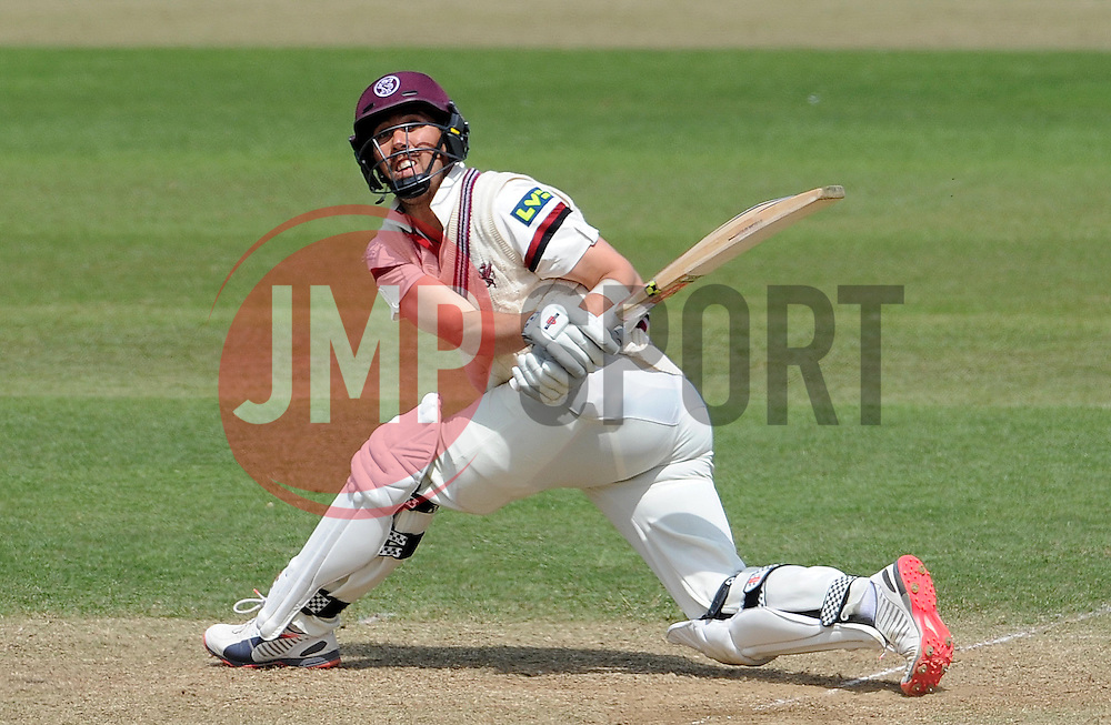 Somerset's Tom Cooper pulls the ball - Photo mandatory by-line: Harry Trump/JMP - Mobile: 07966 386802 - 15/06/15 - SPORT - CRICKET - LVCC County Championship - Division One - Day Two - Somerset v Nottinghamshire - The County Ground, Taunton, England.