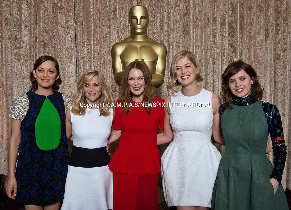 02.02.2015; Beverly Hills, California: 87TH OSCAR NOMINEES LUNCHEON - (Marion Cotillard, Reese Witherspoon, Julianne Moore, Rosamund Pike and Felicity Jones)<br /> Oscar Nominees attended the annual Nominees Luncheon that honours this year's contenders for the Oscars at the Beverly Hilton, Beverly Hills, Los Angeles<br /> Awards for outstanding film achievements of 2014 will be presented on Oscar Sunday, February 22, 2015, at the Dolby Theatre&reg; at Hollywood &amp; Highland Center&reg;, Los Angeles.<br /> Picture Shows:(Left to Right) Oscar&reg; nominees for Actress in a Leading Role, Marion Cotillard, Reese Witherspoon, Julianne Moore, Rosamund Pike and Felicity Jones.<br /> Mandatory Photo Credit: &copy;Wawrychuk/Newspix International<br /> <br />               **ALL FEES PAYABLE TO: &quot;NEWSPIX INTERNATIONAL&quot;**<br /> <br /> PHOTO CREDIT MANDATORY!!: NEWSPIX INTERNATIONAL(Failure to credit will incur a surcharge of 100% of reproduction fees)<br /> <br /> IMMEDIATE CONFIRMATION OF USAGE REQUIRED:<br /> Newspix International, 31 Chinnery Hill, Bishop's Stortford, ENGLAND CM23 3PS<br /> Tel:+441279 324672  ; Fax: +441279656877<br /> Mobile:  0777568 1153<br /> e-mail: info@newspixinternational.co.uk