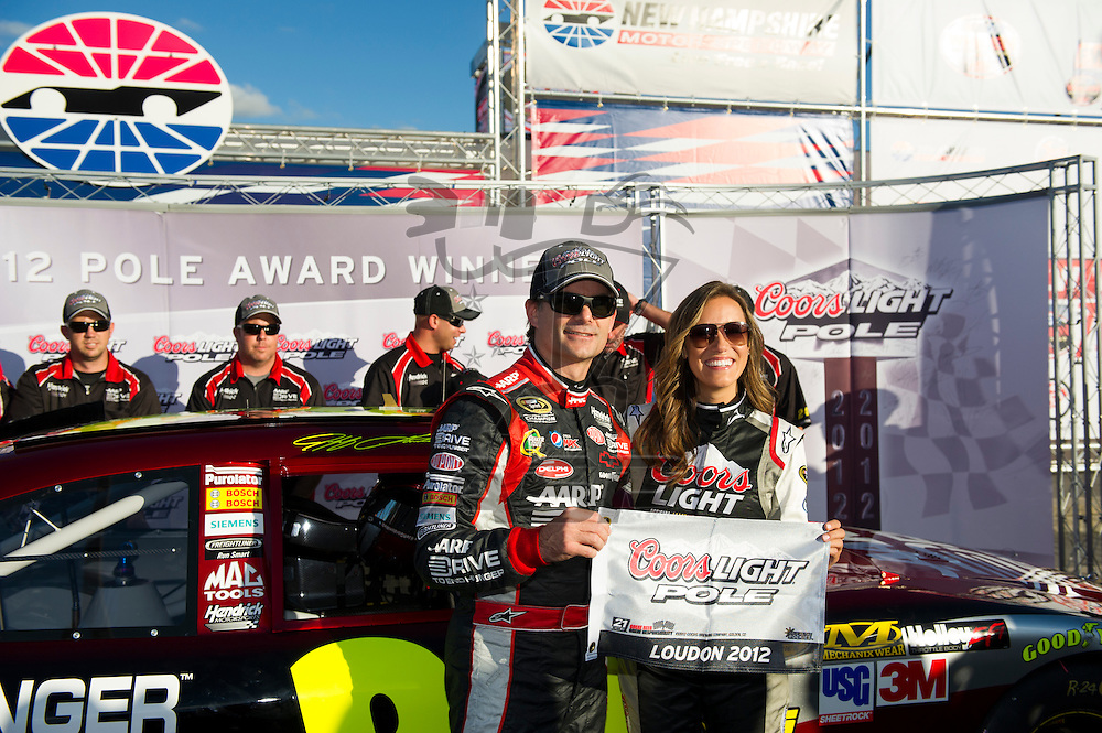 Joliet, IL - SEP 21, 2012:  Jeff Gordon (24) wins the Coors Light Pole Award during qualifying for the Sylvania 300 at New Hampshire Motor Speedway in Loudon, NH.