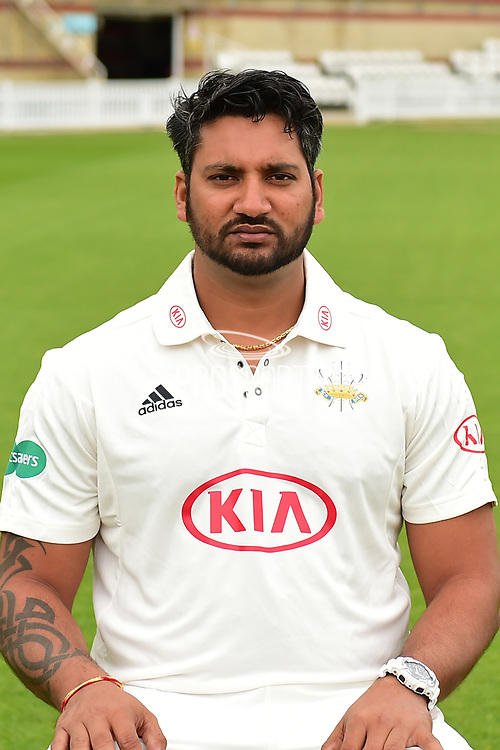 Ravi Rampaul portrait during the Surrey CCC Photocall 2017 at the Oval, London, United Kingdom on 4 April 2017. Photo by Jon Bromley.