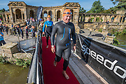 A mixture of nerves and excitement before the start of the swim (the first event)- Competitors enjoy the warm sunny conditions while participating in the Hever castle Triathlon.