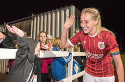 Millie Turner captain of Bristol City Women celebrates with a young supporter - Mandatory by-line: Paul Knight/JMP - 02/12/2017 - FOOTBALL - Stoke Gifford Stadium - Bristol, England - Bristol City Women v Brighton and Hove Albion Ladies - Continental Cup Group 2 South