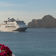 Cruiseships on San Lucas bay viewed from Villa del Palmar hotel in Cabo San Lucas. Baja California, Mexico.