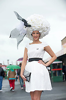 01/08/2013 Winner of the best hat Alex Butler from Middleton in Co Cork   at the Anthony Ryan's Best Dressed on Ladies day at the Galway Races . Picture:Andrew Downes