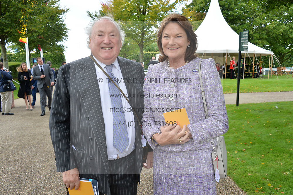 Sir Anthony Oppenheimer, Lady Oppenheimer at the Qatar Goodwood Festival, Goodwood, West Sussex England. 3 August 2017.<br /> Photo by Dominic O'Neill/SilverHub 0203 174 1069 sales@silverhubmedia.com