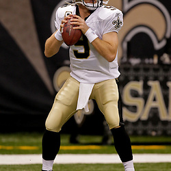 2009 October 18: New Orleans Saints quarterback Drew Brees (9) during warm ups prior to kickoff of a 48-27 win by the New Orleans Saints over the New York Giants at the Louisiana Superdome in New Orleans, Louisiana.