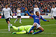 Carlisle United Forward Derek Asamoah and Everton goalkeeper Joel Robles  challenge for the ball during the The FA Cup fourth round match between Carlisle United and Everton at Brunton Park, Carlisle, England on 31 January 2016. Photo by Craig McAllister.