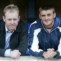 St Johnstone v Queen of the South...31.08.04 Bells Cup 2R<br />New St Johnstone signings Alan Mahood (left) and Ryan McCann<br />Picture by Graeme Hart.<br />Copyright Perthshire Picture Agency<br />Tel: 01738 623350  Mobile: 07990 594431