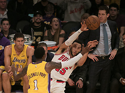 November 21, 2017 - Los Angeles, California, United States of America - Ryan Arcidiacono #15 of the Chicago Bulls  tries to pass the ball past Kentavious Caldwell-Pope #1 of the Los Angeles Lakers during their game on Tuesday November 21, 2017 at the Staples Center in Los Angeles, California. Lakers defeat Bulls, 103-94. JAVIER ROJAS/PI (Credit Image: © Prensa Internacional via ZUMA Wire)