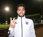 Three got Kane - Hemmings shows how many goals he scored against Hamilton - Dundee v Hamilton, Ladbrokes Premiership at Dens Park<br /> <br />  - &copy; David Young - www.davidyoungphoto.co.uk - email: davidyoungphoto@gmail.com