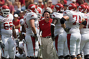 Arkansas Razorbacks head coach Houston Nutt talks to his team in the huddle during a 24 to 13 loss to the Alabama Crimson Tide on September 24, 2005 at Bryant-Denny Stadium in Tuscaloosa, Alabama..Mandatory Credit: Wesley Hitt/Icon SMI