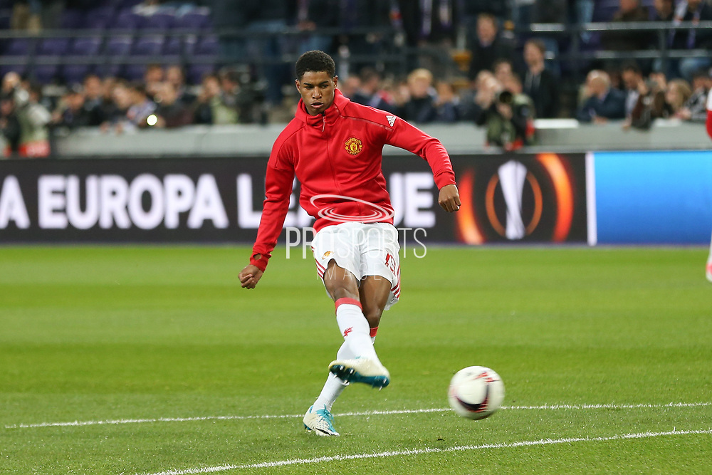 Marcus Rashford Forward of Manchester United in warm up during the UEFA Europa League Quarter-final, Game 1 match between Anderlecht and Manchester United at Constant Vanden Stock Stadium, Anderlecht, Belgium on 13 April 2017. Photo by Phil Duncan.