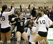 West Point, NY - Army players celebrate their victory over Lehigh in the Patriot League women's volleyball tournament at the United States Military Academy on  Nov. 21, 2009.