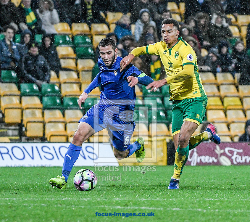 Joshua Murphy of Norwich City U23 v Dinamo Zagreb U23 during the Premier League International Cup Quarter-Final match at Carrow Road, Norwich<br /> Picture by Matthew Usher/Focus Images Ltd +44 7902 242054<br /> 27/02/2017